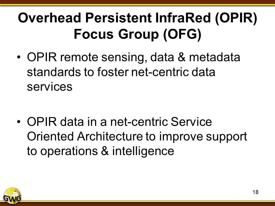 Overhead Persistent InfraRed (OPIR) Focus Group (OFG) OPIR remote sensing, data & metadata standards to foster net-centric data services OPIR data in