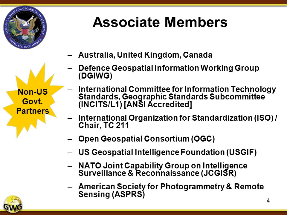 Associate Members –Australia, United Kingdom, Canada –Defence Geospatial Information Working Group (DGIWG) –International Committee for Information Te