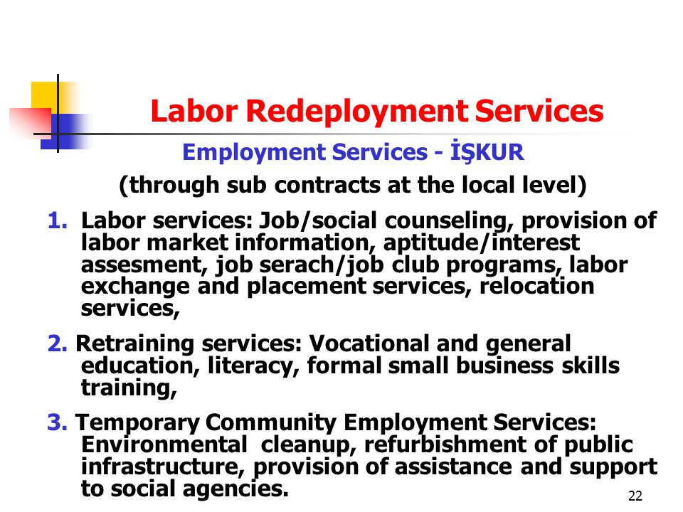 22 Labor Redeployment Services Employment Services - İŞKUR (through sub contracts at the local level) 1.Labor services: Job/social counseling, provision of labor market information, aptitude/interest assesment, job serach/job club programs, labor exchange and placement services, relocation services, 2.