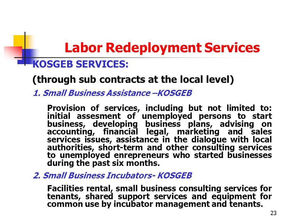23 Labor Redeployment Services KOSGEB SERVICES: (through sub contracts at the local level) 1.