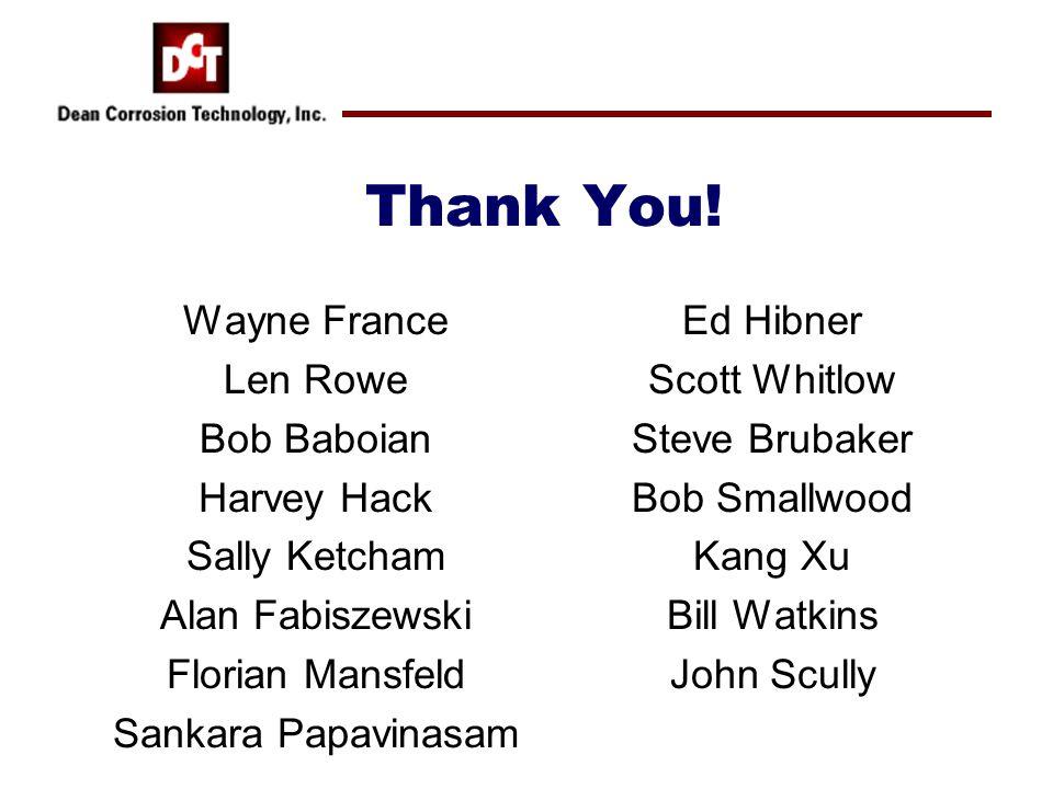 Thank You! Wayne France Len Rowe Bob Baboian Harvey Hack Sally Ketcham Alan Fabiszewski Florian Mansfeld Sankara Papavinasam Ed Hibner Scott Whitlow S