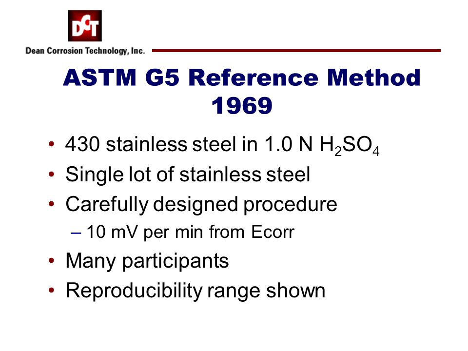 ASTM G5 Reference Method 1969 430 stainless steel in 1.0 N H 2 SO 4 Single lot of stainless steel Carefully designed procedure –10 mV per min from Eco