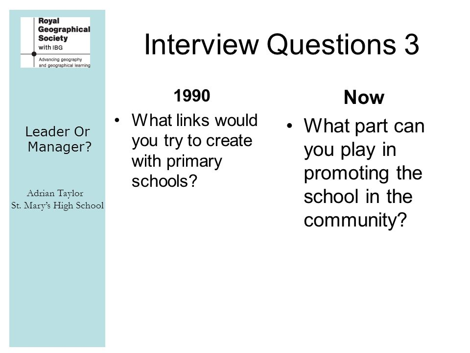 Leader Or Manager? Adrian Taylor St. Mary's High School Interview Questions 3 1990 What links would you try to create with primary schools? Now What p