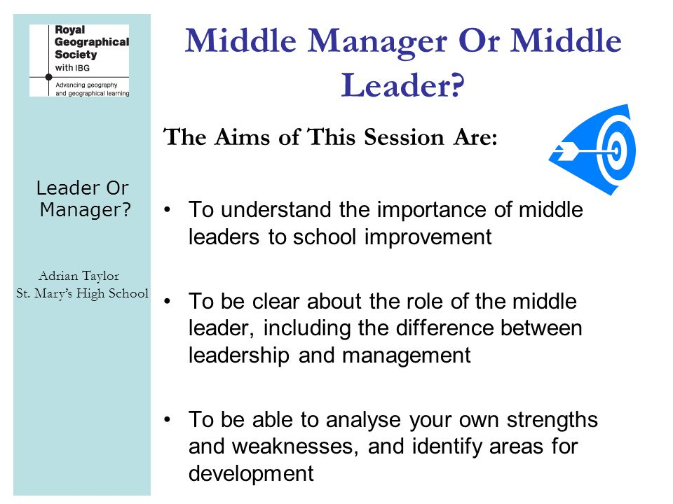 Leader Or Manager? Adrian Taylor St. Mary's High School Middle Manager Or Middle Leader? The Aims of This Session Are: To understand the importance of