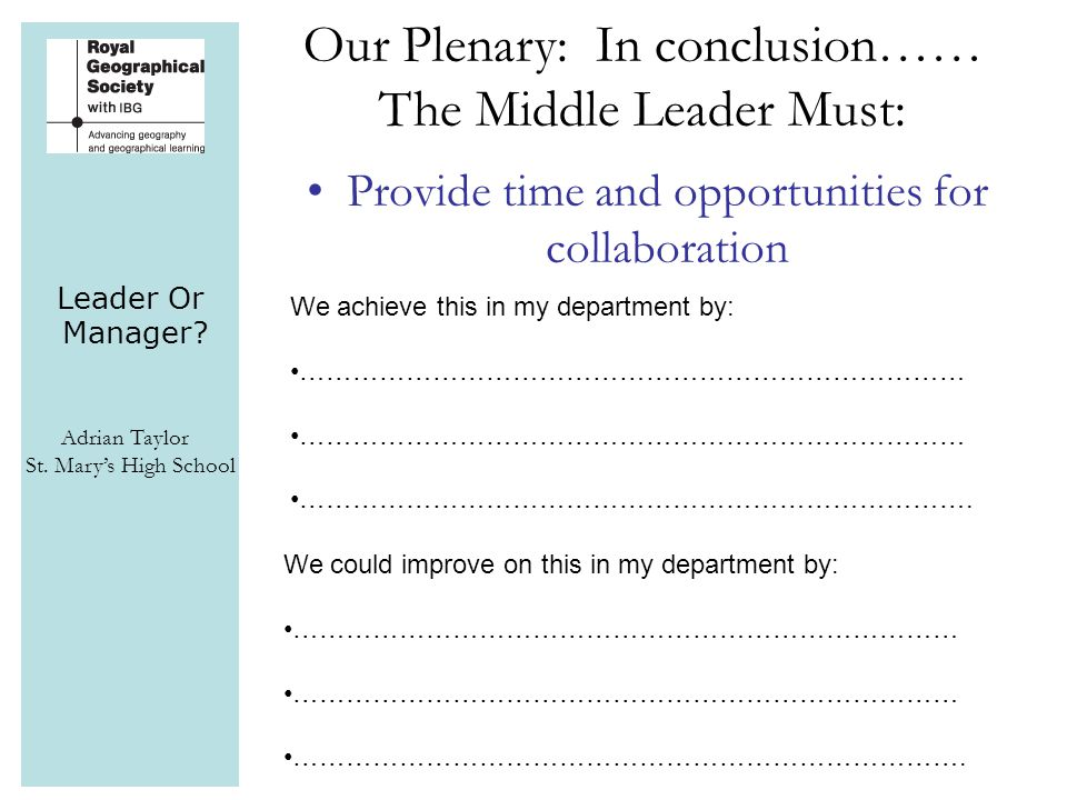 Leader Or Manager? Adrian Taylor St. Mary's High School Provide time and opportunities for collaboration Our Plenary: In conclusion…… The Middle Leade