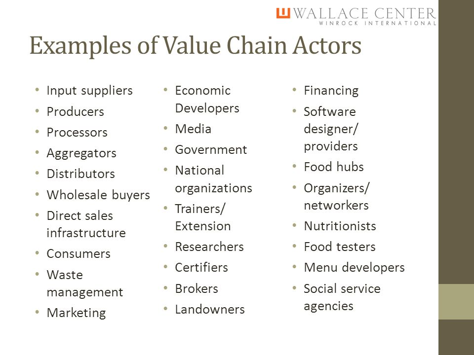 Examples of Value Chain Actors Input suppliers Producers Processors Aggregators Distributors Wholesale buyers Direct sales infrastructure Consumers Waste management Marketing Economic Developers Media Government National organizations Trainers/ Extension Researchers Certifiers Brokers Landowners Financing Software designer/ providers Food hubs Organizers/ networkers Nutritionists Food testers Menu developers Social service agencies