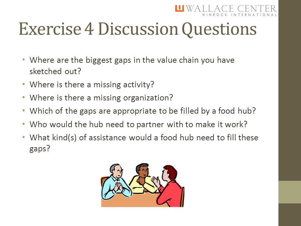 Exercise 4 Discussion Questions Where are the biggest gaps in the value chain you have sketched out.