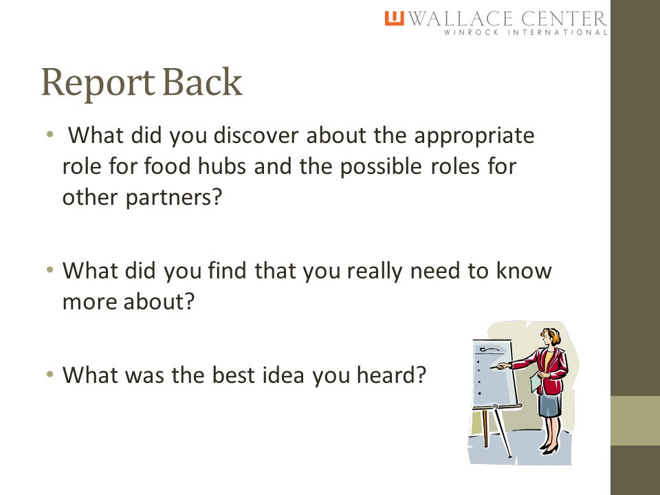 Report Back What did you discover about the appropriate role for food hubs and the possible roles for other partners.