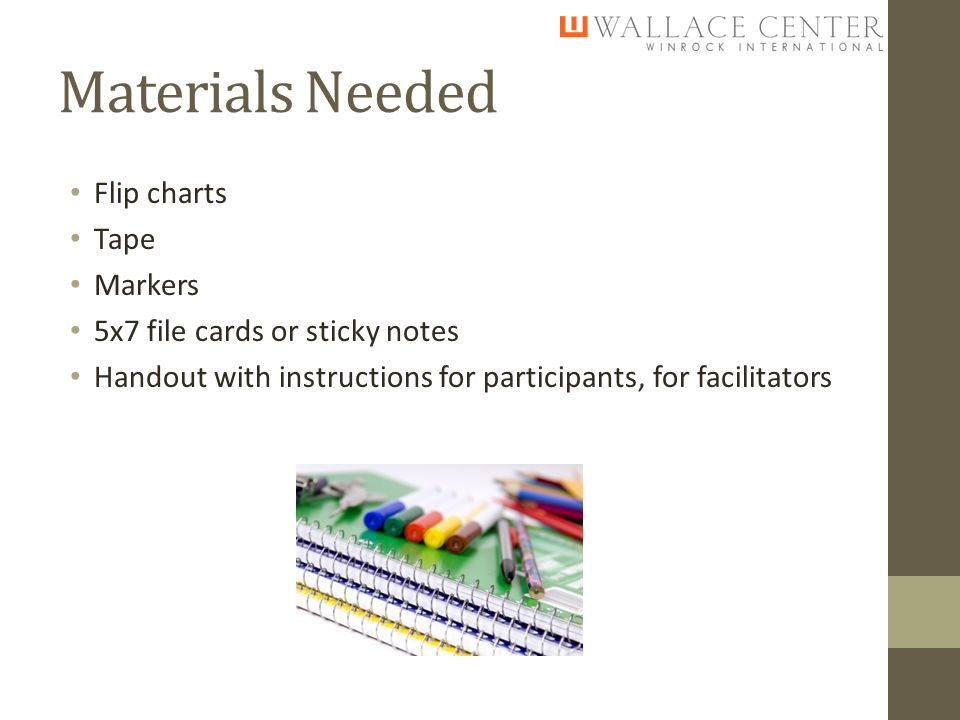 Materials Needed Flip charts Tape Markers 5x7 file cards or sticky notes Handout with instructions for participants, for facilitators