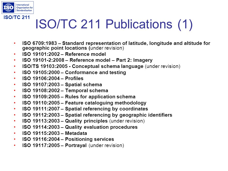 ISO/TC 211 ISO/TC 211 Publications (1) ISO 6709:1983 – Standard representation of latitude, longitude and altitude for geographic point locations (und