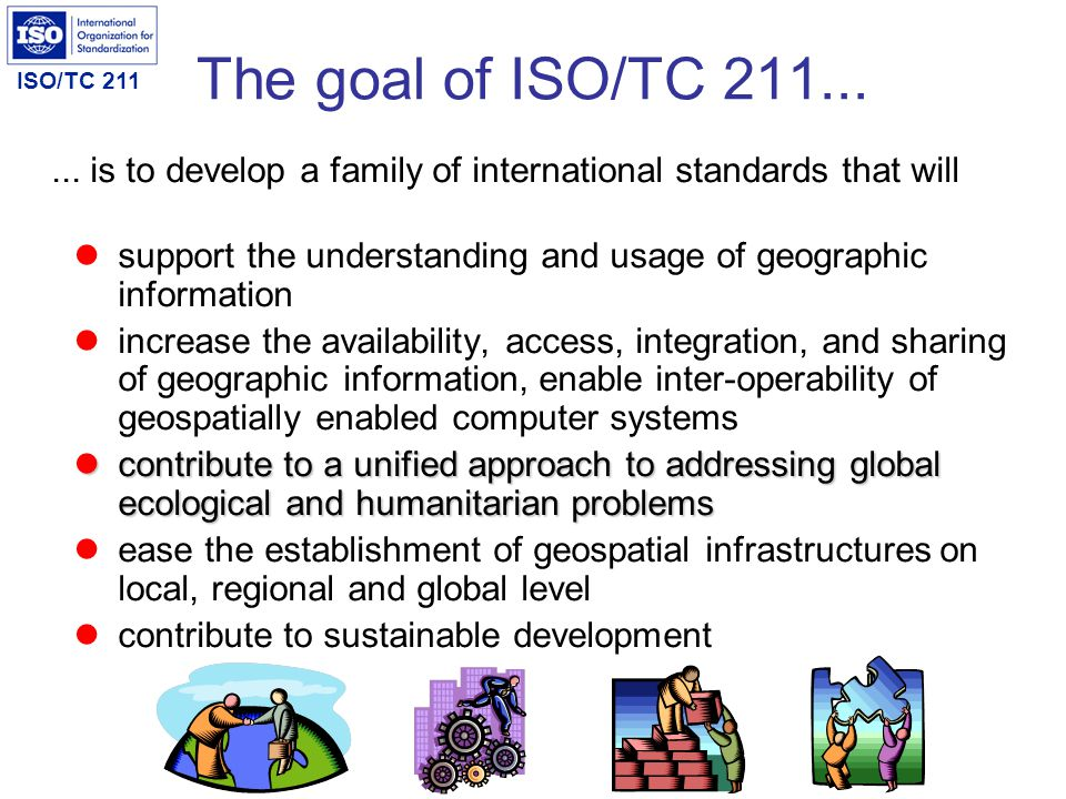 ISO/TC 211 ISO/TC 211 statistics More than 1200 persons involved internationally since start More than 750 have attended one or more plenaries 26 plenary meetings have been convened in 19 different countries on 5 continents NB.