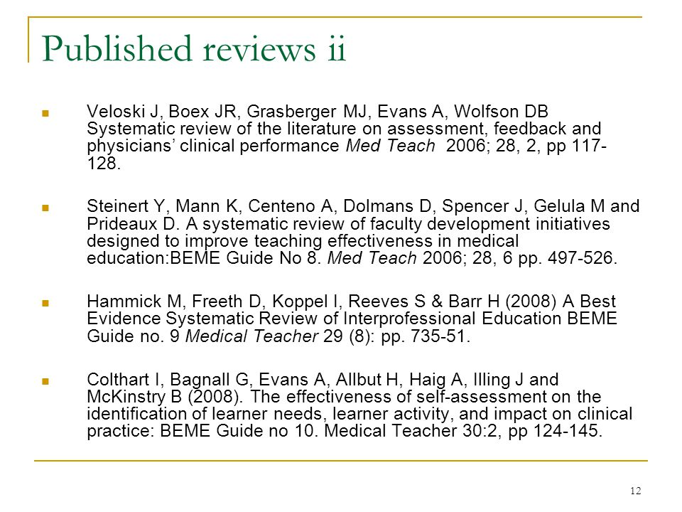 12 Published reviews ii Veloski J, Boex JR, Grasberger MJ, Evans A, Wolfson DB Systematic review of the literature on assessment, feedback and physicians' clinical performance Med Teach 2006; 28, 2, pp 117- 128.