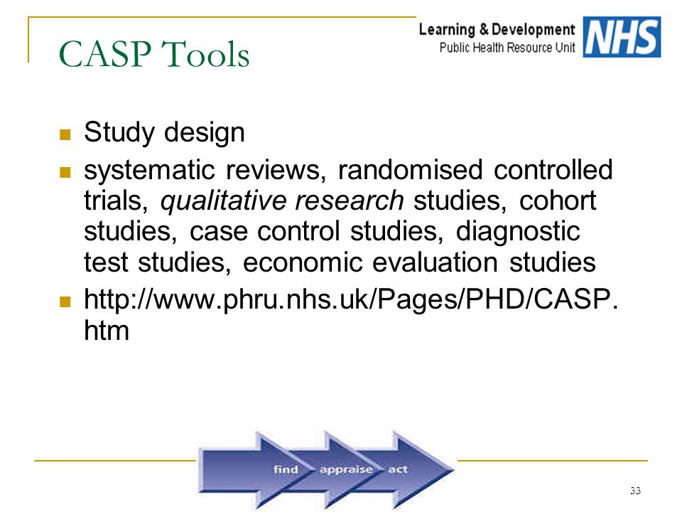 33 CASP Tools Study design systematic reviews, randomised controlled trials, qualitative research studies, cohort studies, case control studies, diagnostic test studies, economic evaluation studies http://www.phru.nhs.uk/Pages/PHD/CASP.