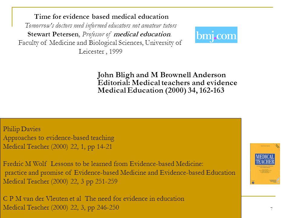 7 Time for evidence based medical education Tomorrow s doctors need informed educators not amateur tutors Stewart Petersen, Professor of medical education.