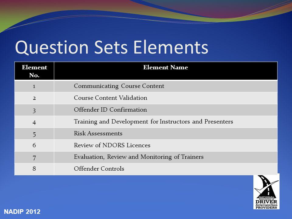Question Sets Elements Element No.