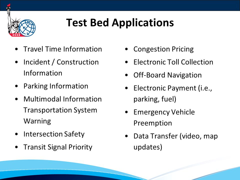 Test Bed Applications Travel Time Information Incident / Construction Information Parking Information Multimodal Information Transportation System Warning Intersection Safety Transit Signal Priority Congestion Pricing Electronic Toll Collection Off-Board Navigation Electronic Payment (i.e., parking, fuel) Emergency Vehicle Preemption Data Transfer (video, map updates)