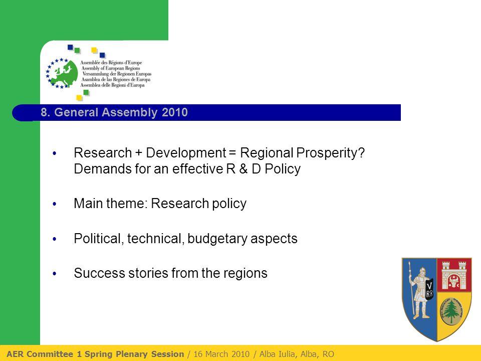 8. General Assembly 2010 Research + Development = Regional Prosperity.