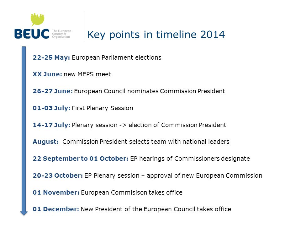Key points in timeline 2014 22-25 May: European Parliament elections XX June: new MEPS meet 26-27 June: European Council nominates Commission President 01-03 July: First Plenary Session 14-17 July: Plenary session -> election of Commission President August: Commission President selects team with national leaders 22 September to 01 October: EP hearings of Commissioners designate 20-23 October: EP Plenary session – approval of new European Commission 01 November: European Commisison takes office 01 December: New President of the European Council takes office