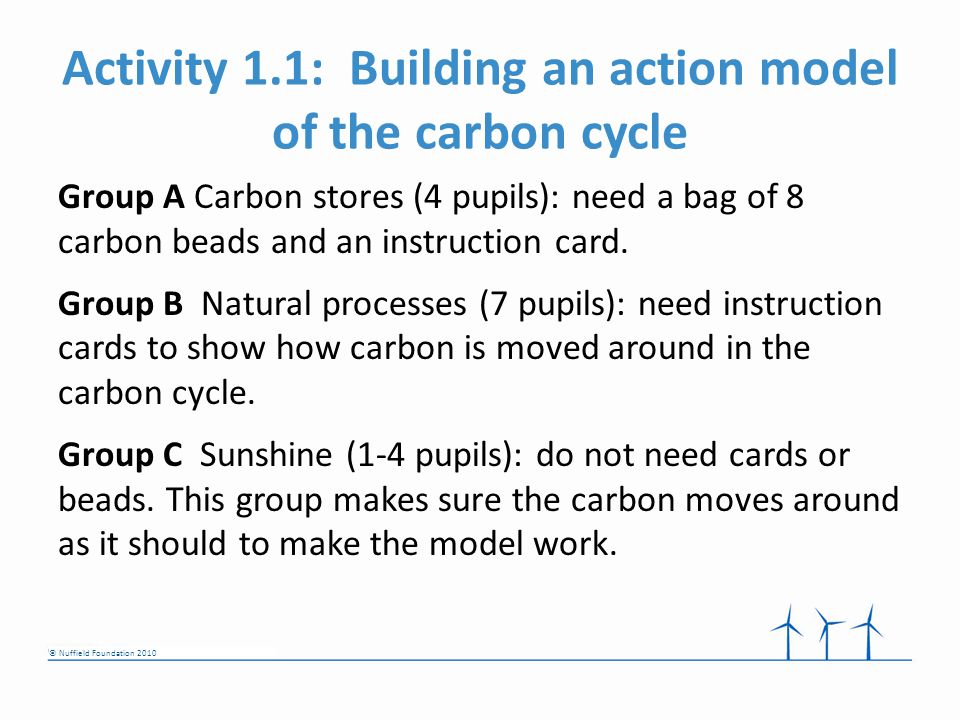 © Nuffield Foundation 2010 Activity 1.1: Building an action model of the carbon cycle Group A Carbon stores (4 pupils): need a bag of 8 carbon beads and an instruction card.