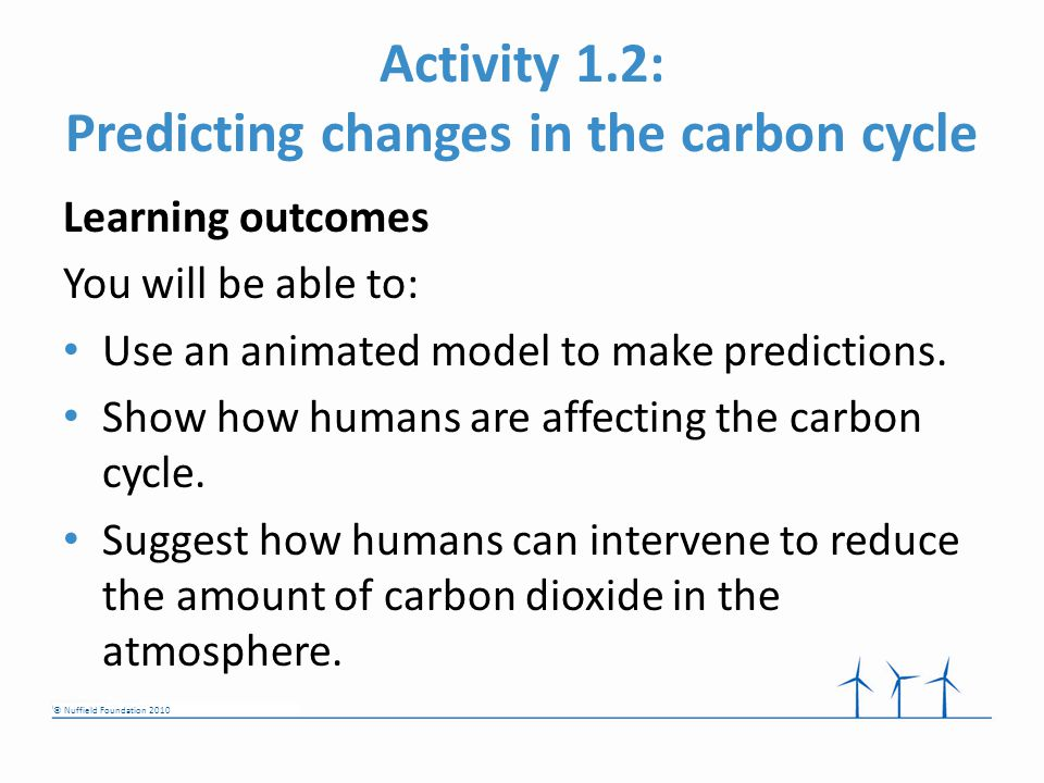© Nuffield Foundation 2010 Activity 1.2: Predicting changes in the carbon cycle Learning outcomes You will be able to: Use an animated model to make predictions.