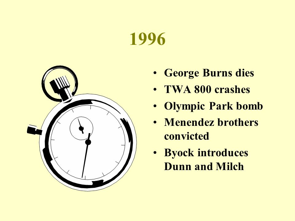 1996 George Burns dies TWA 800 crashes Olympic Park bomb Menendez brothers convicted Byock introduces Dunn and Milch