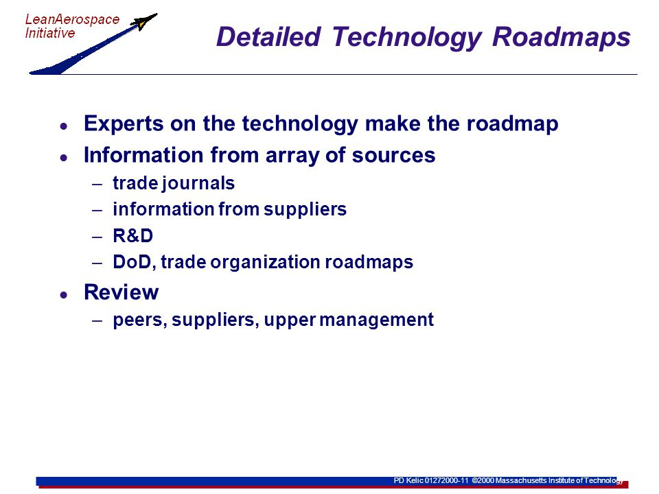 PD Kelic 01272000-11 ©2000 Massachusetts Institute of Technology Detailed Technology Roadmaps l Experts on the technology make the roadmap l Information from array of sources –trade journals –information from suppliers –R&D –DoD, trade organization roadmaps l Review –peers, suppliers, upper management