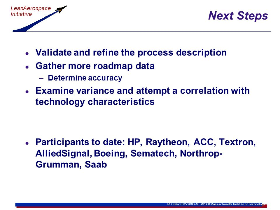 PD Kelic 01272000-16 ©2000 Massachusetts Institute of Technology Next Steps l Validate and refine the process description l Gather more roadmap data –Determine accuracy l Examine variance and attempt a correlation with technology characteristics l Participants to date: HP, Raytheon, ACC, Textron, AlliedSignal, Boeing, Sematech, Northrop- Grumman, Saab