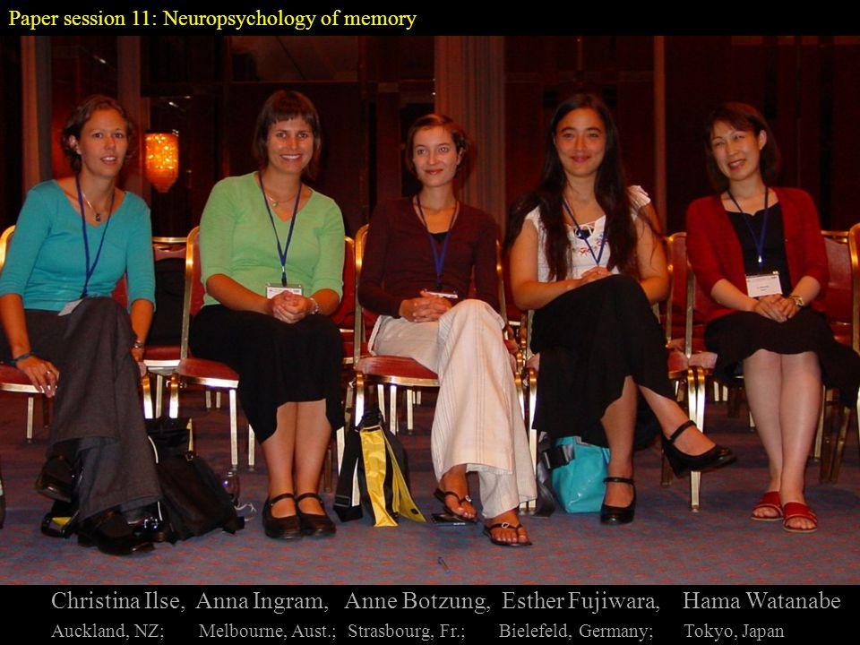 Paper session 11: Neuropsychology of memory Christina Ilse, Anna Ingram, Anne Botzung, Esther Fujiwara, Hama Watanabe Auckland, NZ; Melbourne, Aust.; Strasbourg, Fr.; Bielefeld, Germany; Tokyo, Japan