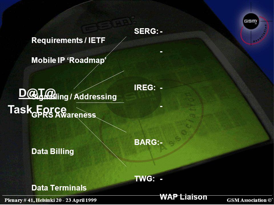 GSM Association ©`Plenary # 41, Helsinki 20 - 23 April 1999 SERG:- Requirements / IETF - Mobile IP 'Roadmap' IREG:- Signalling / Addressing - GPRS Awareness BARG:- Data Billing TWG:- Data Terminals WAP Liaison CSG:- Data Publicity - MDA / WDF Liaison D@T@ Task Force