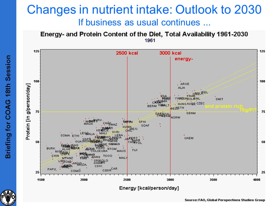 Changes in nutrient intake: Outlook to 2030 If business as usual continues... Briefing for COAG 18th Session