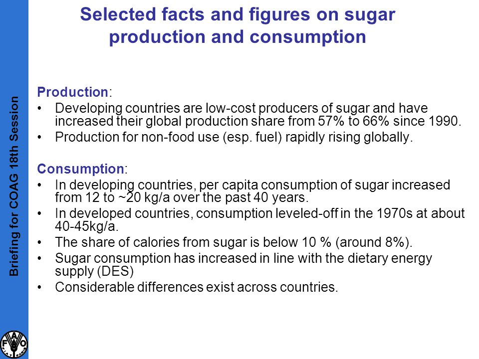 Production: Developing countries are low-cost producers of sugar and have increased their global production share from 57% to 66% since 1990. Producti