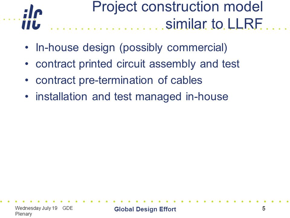 Wednesday July 19 GDE Plenary Global Design Effort 5 Project construction model similar to LLRF In-house design (possibly commercial) contract printed circuit assembly and test contract pre-termination of cables installation and test managed in-house
