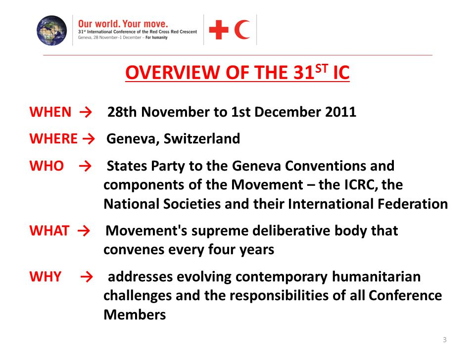 3 OVERVIEW OF THE 31 ST IC WHEN → 28th November to 1st December 2011 WHERE → Geneva, Switzerland WHO → States Party to the Geneva Conventions and comp