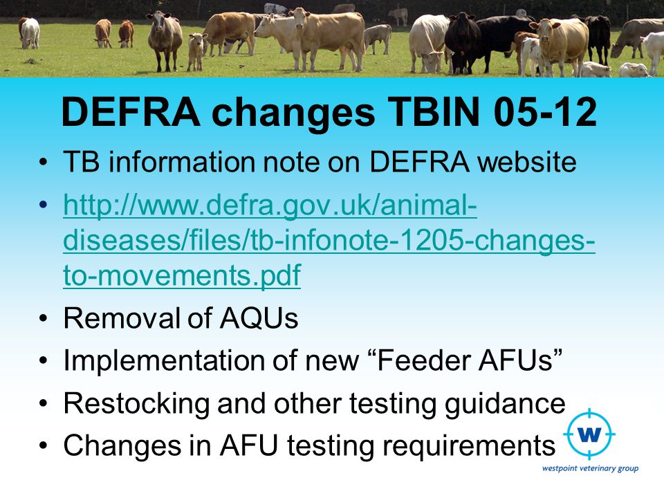 Assured Finishing Units Currently 109 AFUs licensed in England All based in SW and Midlands –SW region = 73 units –Midlands = 36 units Cattle from multiple TB restricted farms Finishing to move straight to slaughter AHVLA undertake inspections Regular TB testing