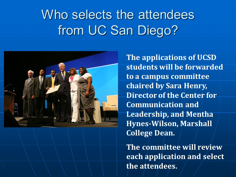 Who selects the attendees from UC San Diego.