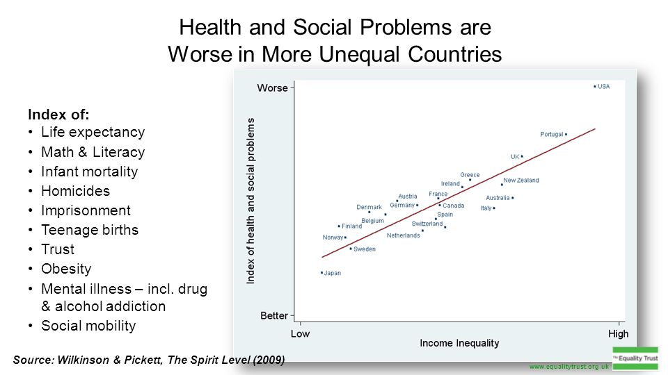 Health and Social Problems are Worse in More Unequal Countries Index of: Life expectancy Math & Literacy Infant mortality Homicides Imprisonment Teenage births Trust Obesity Mental illness – incl.