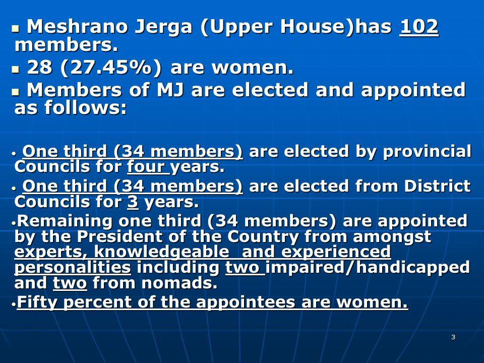 3 Meshrano Jerga (Upper House)has 102 members. Meshrano Jerga (Upper House)has 102 members.