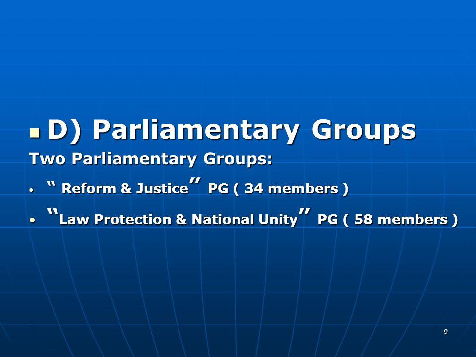 D) Parliamentary Groups D) Parliamentary Groups Two Parliamentary Groups: Reform & Justice PG ( 34 members ) Reform & Justice PG ( 34 members ) Law Protection & National Unity PG ( 58 members ) Law Protection & National Unity PG ( 58 members ) 9