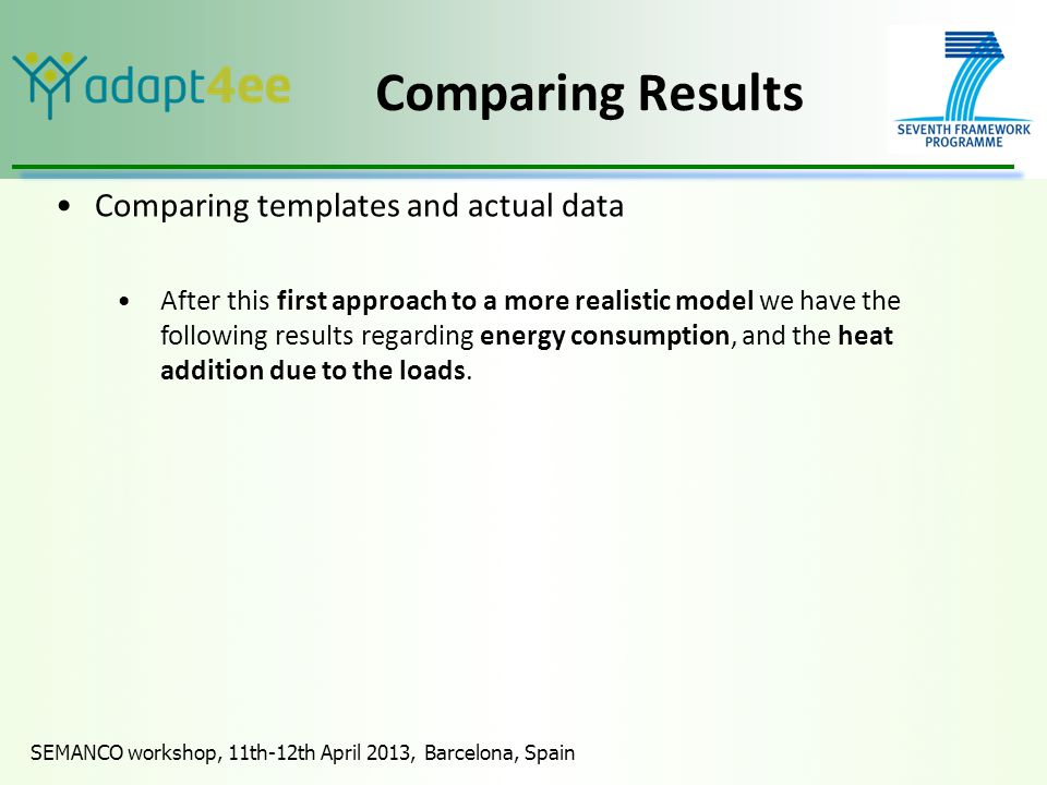 SEMANCO workshop, 11th-12th April 2013, Barcelona, Spain Comparing Results Comparing templates and actual data After this first approach to a more realistic model we have the following results regarding energy consumption, and the heat addition due to the loads.