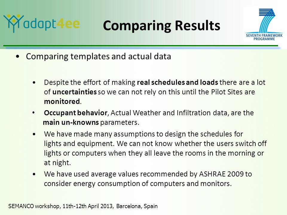 SEMANCO workshop, 11th-12th April 2013, Barcelona, Spain Comparing Results Comparing templates and actual data Despite the effort of making real schedules and loads there are a lot of uncertainties so we can not rely on this until the Pilot Sites are monitored.