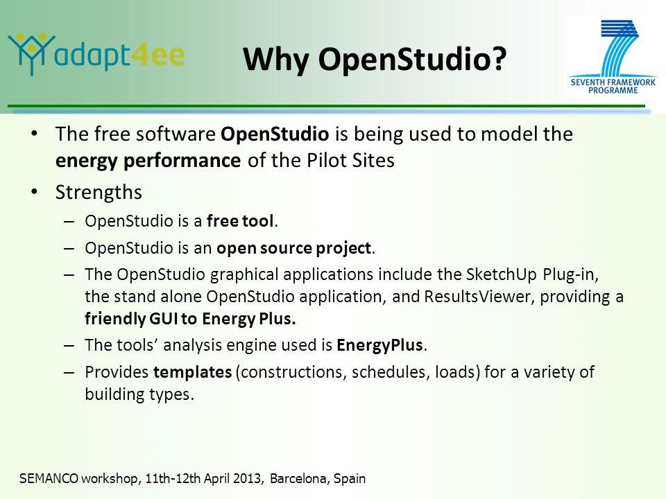 SEMANCO workshop, 11th-12th April 2013, Barcelona, Spain Why OpenStudio.