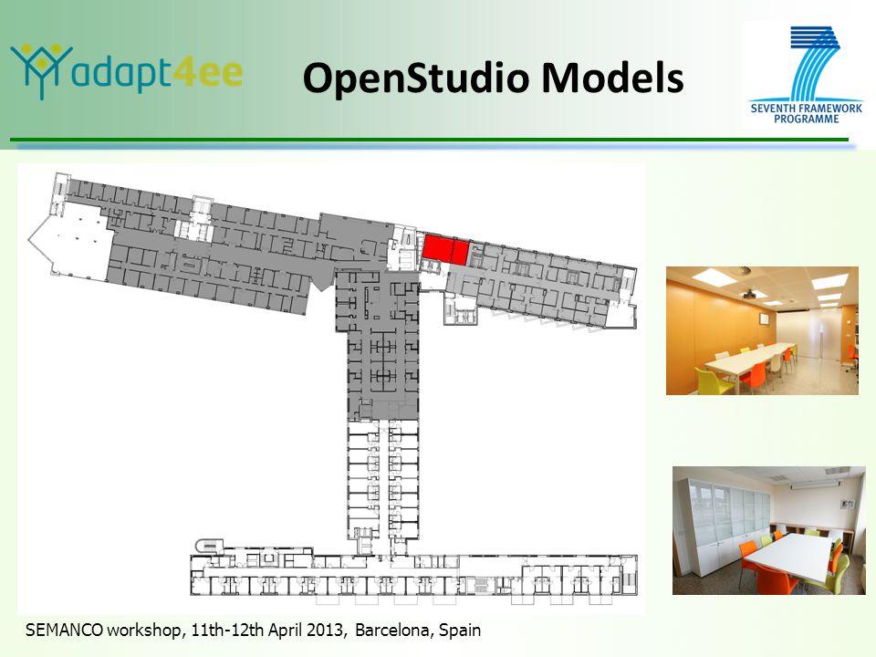 SEMANCO workshop, 11th-12th April 2013, Barcelona, Spain OpenStudio Models