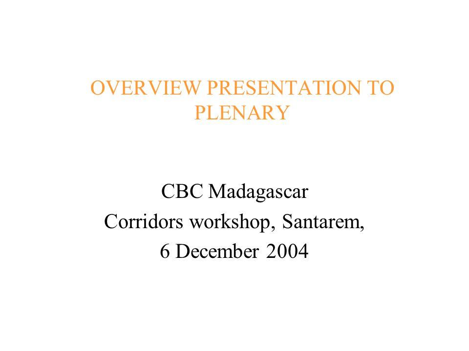 OVERVIEW PRESENTATION TO PLENARY CBC Madagascar Corridors workshop, Santarem, 6 December 2004