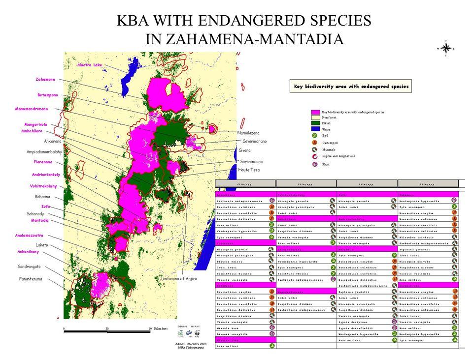 KBA WITH ENDANGERED SPECIES IN ZAHAMENA-MANTADIA