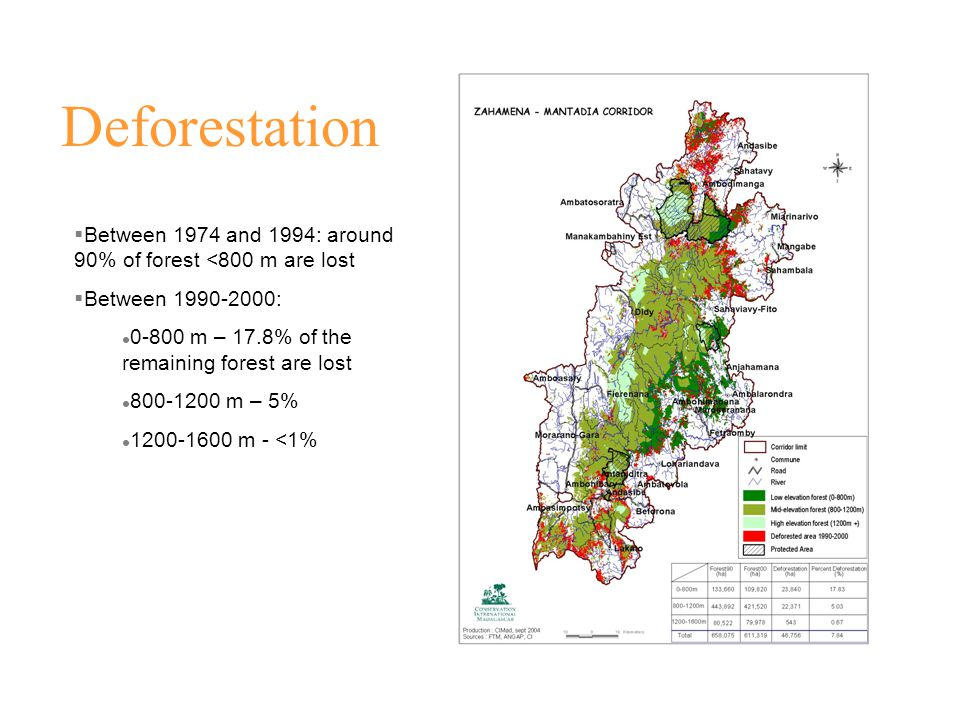 Deforestation  Between 1974 and 1994: around 90% of forest <800 m are lost  Between 1990-2000: 0-800 m – 17.8% of the remaining forest are lost 800-1200 m – 5% 1200-1600 m - <1%