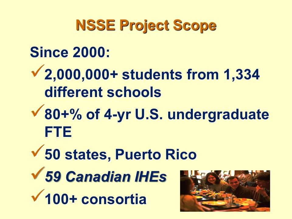 NSSE Project Scope Since 2000: 2,000,000+ students from 1,334 different schools 2,000,000+ students from 1,334 different schools 80+% of 4-yr U.S. und