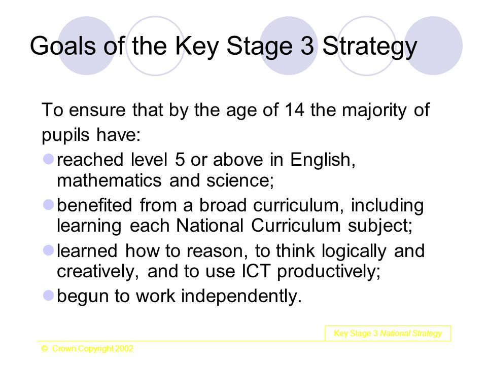 Key Stage 3 National Strategy © Crown Copyright 2002 Goals of the Key Stage 3 Strategy To ensure that by the age of 14 the majority of pupils have: re