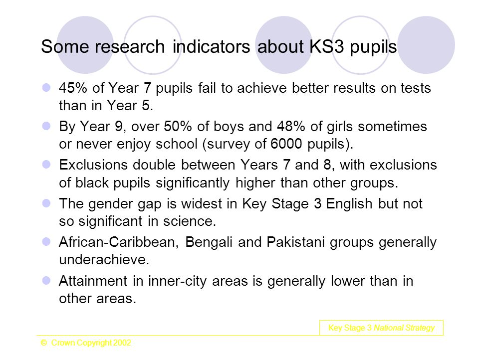 Key Stage 3 National Strategy © Crown Copyright 2002 Some research indicators about KS3 pupils 45% of Year 7 pupils fail to achieve better results on