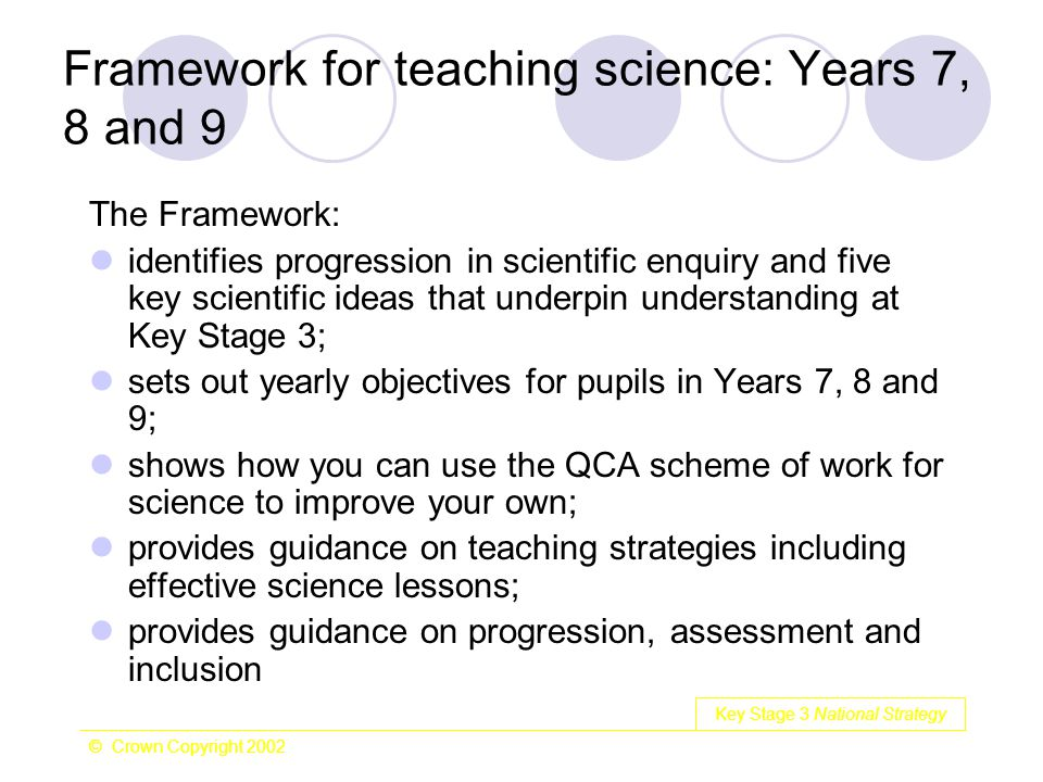Key Stage 3 National Strategy © Crown Copyright 2002 Framework for teaching science: Years 7, 8 and 9 The Framework: identifies progression in scienti