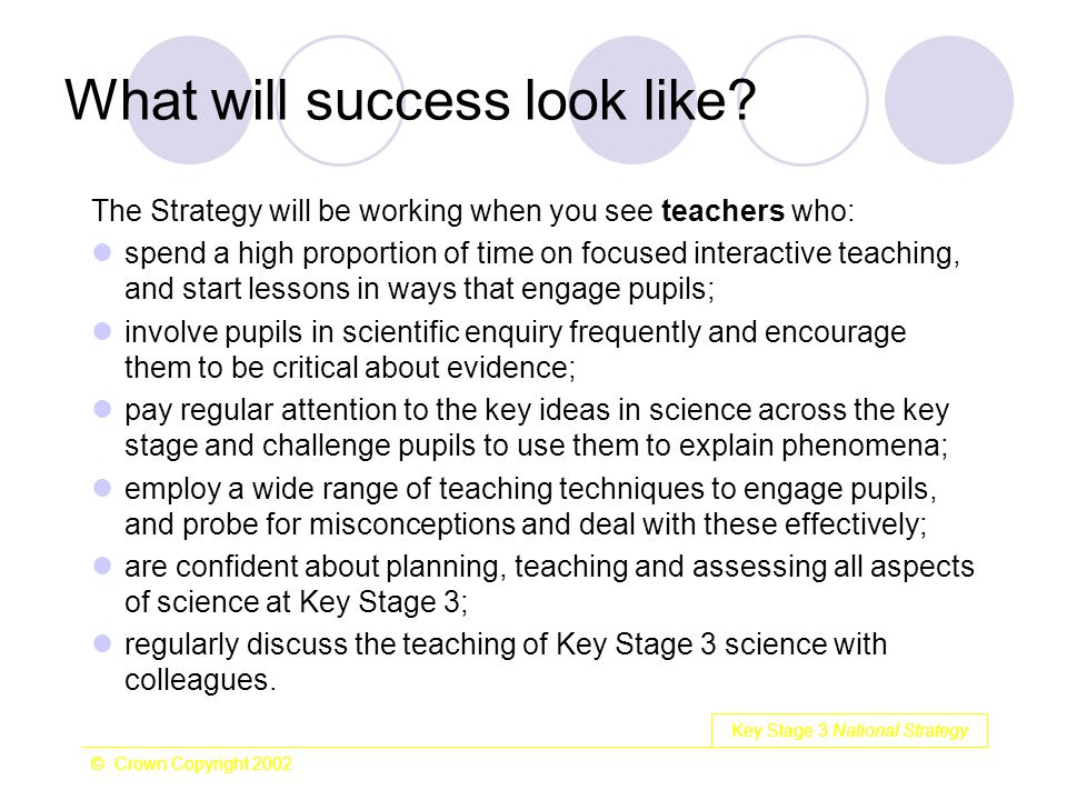 Key Stage 3 National Strategy © Crown Copyright 2002 What will success look like? The Strategy will be working when you see teachers who: spend a high